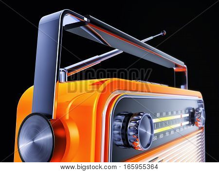 3D rendering of an orange vintage radio