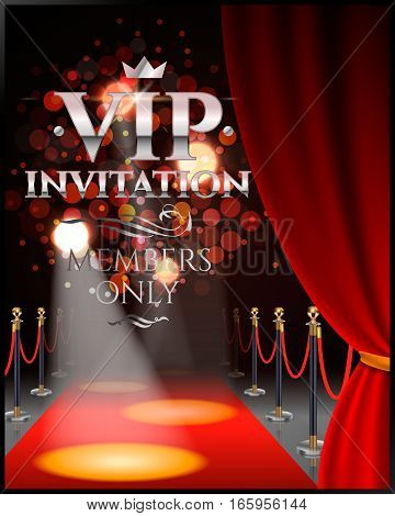 VIP invitation inscriptions with red theater curtains and velvet carpet. 3d illustration.
