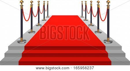 Red carpet with gold stanchions. Vector illustration.