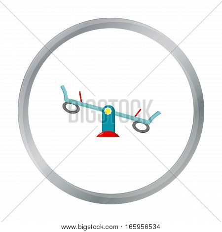 Seesaw icon in cartoon style isolated on white background. Play garden symbol vector illustration.