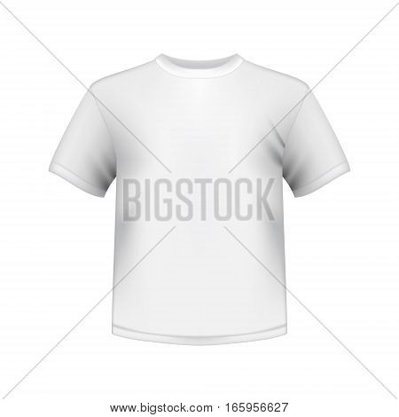white round neck t-shirts male isolated vector illustration
