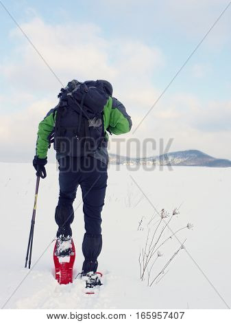 Man cleaning snowshoe. Hiker in green gray winter jacket and black trekking trousers walk in snowy filed. Snowshoeing in powder snow. Cloudy winter day gentle wind brings small snow flakes
