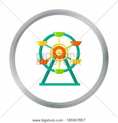Ferris wheel icon in cartoon style isolated on white background. Play garden symbol vector illustration.
