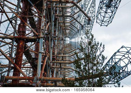 Chernobyl, Ukraine - April 24, 2015: Soviet Radar Duga 3 Near Chernobyl Ghost Town At Ukraine.