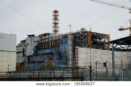 Chernobyl, Ukraine - April 24, 2015: Fourth Block Of The Chernobyl Nuclear Power Plant In 30 Years A