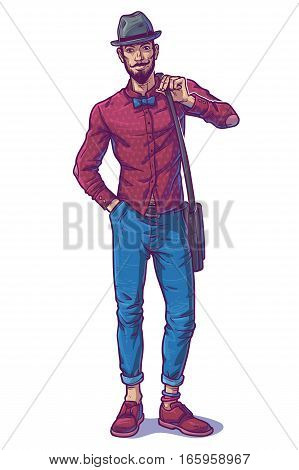 illustration of a fashionable guy in hat and bow tie