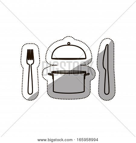 sticker medium shade of cooking pot and cutlery vector illustration