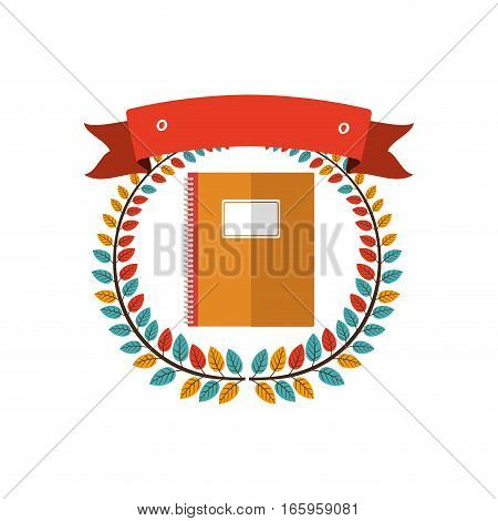 colorful olive crown with ribbon and notebook vector illustration