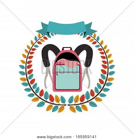colorful olive crown with ribbon and school briefcase vector illustration