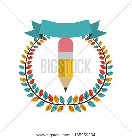 colorful olive crown with ribbon and pencil vector illustration