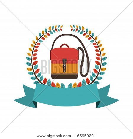 colorful olive crown with ribbon and hands free briefcase vector illustration
