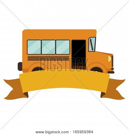 colorful silhouette school bus with ribbon vector illustration