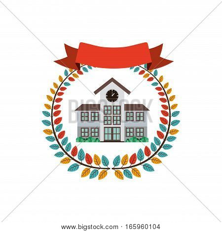 colorful olive crown with ribbon and high school structure vector illustration