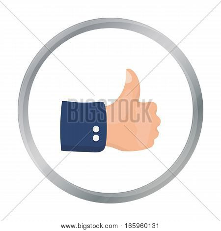 Patriotic thumb up icon in cartoon style isolated on white background. Patriot day symbol vector illustration.