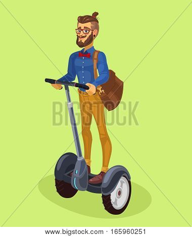illustration of a fashionable guy and riding