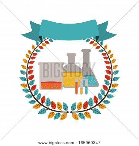 colorful olive crown with ribbon and lab test tube vector illustration