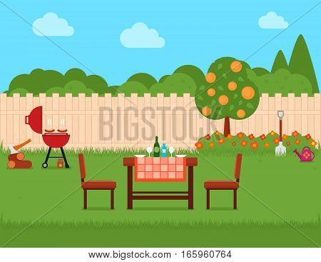 summer house backyard with grill and green garden