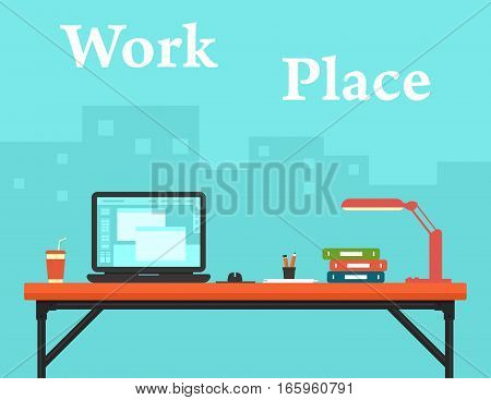 blue background with work place on business office and city silhouette