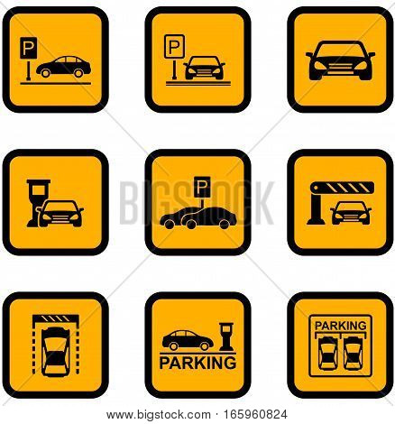 set of yellow isolated car parking icons