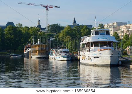 LAPPEENRANTA, FINLAND - AUGUST 09, 2015: Ships at the city's waterfront early on a summer morning