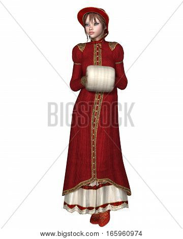 Illustration of a girl in a Regency Period red coat, with bonnet and muff, digital illustration (3d rendering)