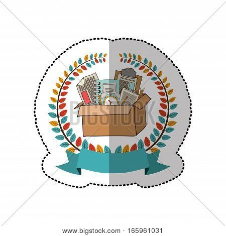 middle shadow sticker with colorful olive crown with ribbon and box with school supplies vector illustration