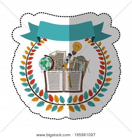 middle shadow sticker with colorful olive crown with ribbon and school supplies vector illustration