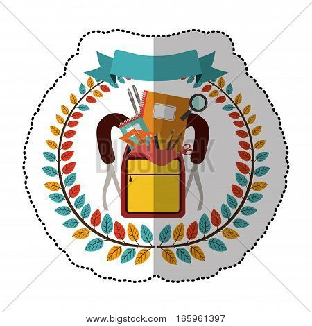 middle shadow sticker with colorful olive crown with ribbon and school supplies in briefcase vector illustration