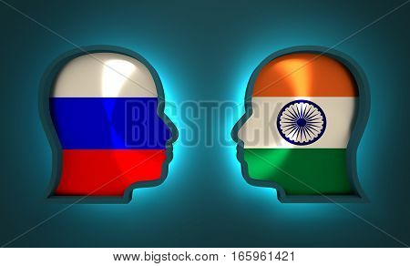 Image relative to politic and economic relationship between Russia and India. National flags inside the heads of the businessmen. Teamwork concept. 3D rendering. Neon light