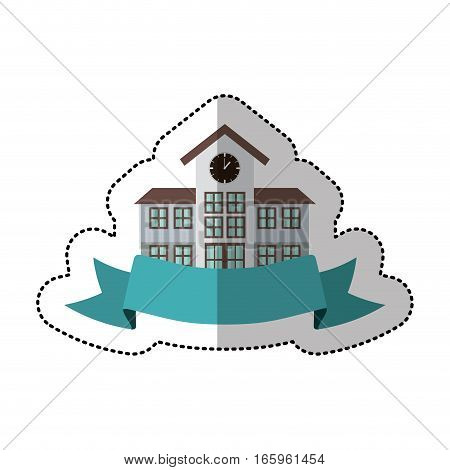 middle shadow sticker with colorful high school structure with ribbon vector illustration