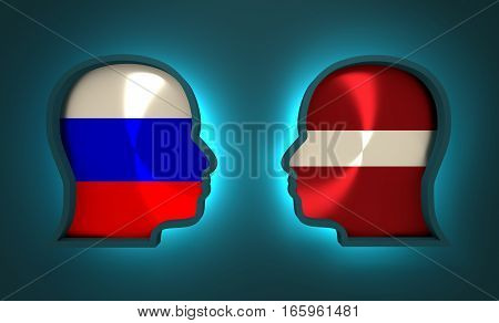 Image relative to politic and economic relationship between Russia and Latvia. National flags inside the heads of the businessmen. Teamwork concept. 3D rendering. Neon light