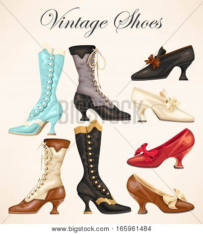 Vector set of ladies vintage shoes and boots