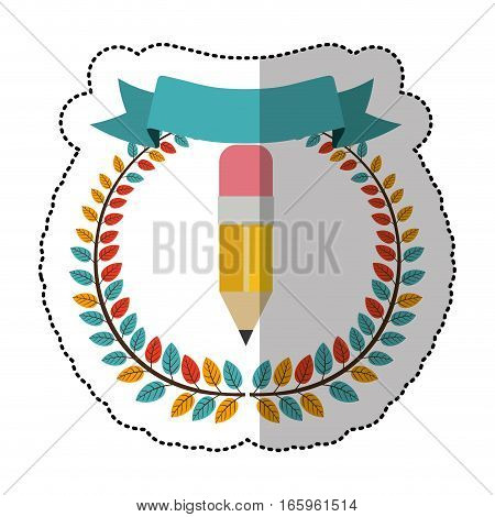 middle shadow sticker with colorful olive crown with ribbon and pencil vector illustration