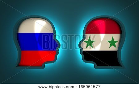 Image relative to politic and economic relationship between Russia and Syria. National flags inside the heads of the businessmen. Teamwork concept. 3D rendering. Neon light