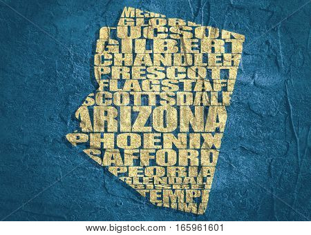Word cloud map of Arizona state. Cities list collage. Grunge texture