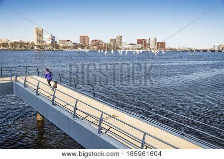 Building city skyline in Boston, Massachusetts, USA