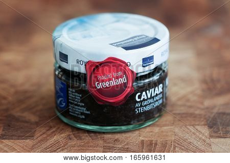 Odder,  Denmark - January 15 2017: Caviar product from Greenland by the Royal Greenland danish company