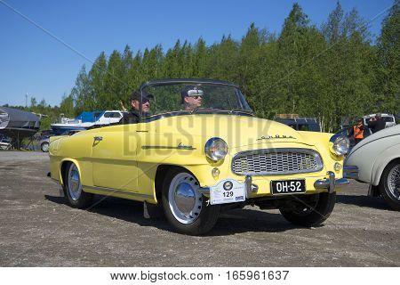 KERIMAKI, FINLAND - JUNE 06, 2015: Skoda Felicia cabrio on the parade of vintage cars in the area of South Savo. Finland