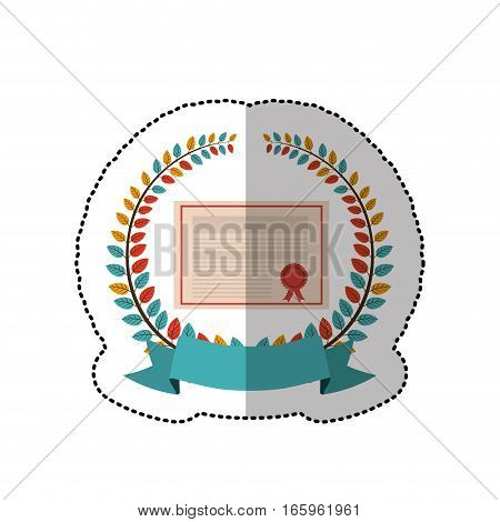 middle shadow sticker with colorful olive crown with ribbon and school certificate vector illustration