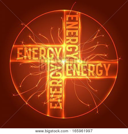 Abstract transparent circle with the word energy