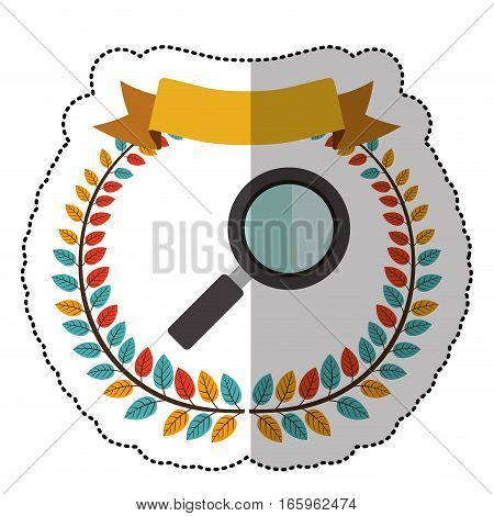middle shadow sticker with colorful olive crown with ribbon and magnifying glass vector illustration