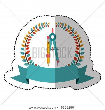 middle shadow sticker with colorful olive crown with ribbon and compass with pencil vector illustration