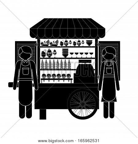 monochrome silhouette man and woman with ice cream bike vector illustration