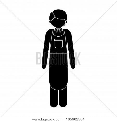 monochrome silhouette with ice cream man vector illustration