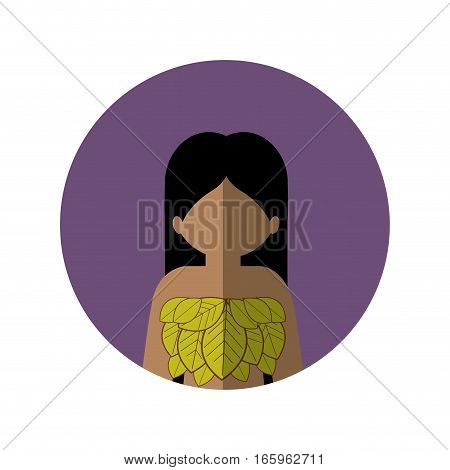 circle with half body woman with leaves in chest and middle shadow vector illustration