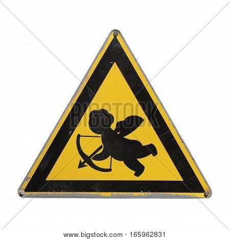 Careful Cupid. Amur. Caution love. Valentines day. Yellow triangle. Sign for collage