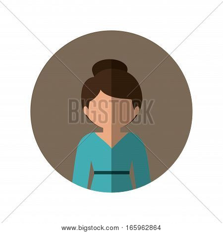 circle with half body woman in dress with collected hair and middle shadow vector illustration