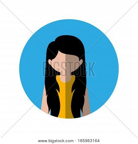 circle with half body woman with long hair and middle shadow vector illustration