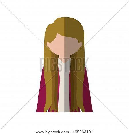 half body woman with long hair blonde and middle shadow vector illustration