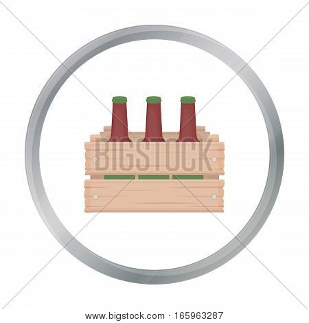 Box with beer icon in cartoon style isolated on white background. Oktoberfest symbol vector illustration.